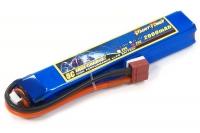 Аккумулятор полимерно-литиевый для страйкбола Giant Power (Dinogy) Li-Pol 7.4V 2S 2000mAh 25C 20х21х126мм T-Plug 29848
