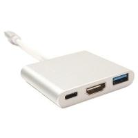 Переходник PowerPlant (KD00AS1306) USB C-Type - HDMI/USB. 44397