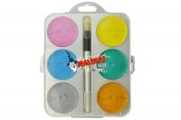Акварельные краски набор 6 цветов перламутровые MALINOS Maxi Perleffekt 30064