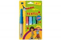 Набор 5шт безопасные фломастеры-аэрографы для ткани MALINOS BLOpens Textil текстильные 30091