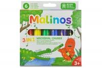 Восковые карандаши набор 6 шт (3 в 1) Malinos Wachsmal-Zauber 30068