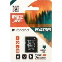 Карта памяти Mibrand 64GB microSDXC class 10 UHS-I (MICDXU1/64GB-A). 44726