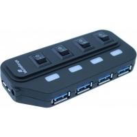 Концентратор MediaRange USB 3.0 hub 1:4, БП 5 V, black (MRCS505). 41795