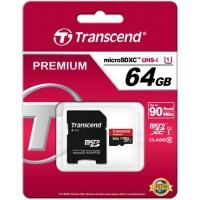 Карта памяти Transcend 64Gb microSDXC Class10 UHS-I+ SD-adapter (TS64GUSDU1). 44775