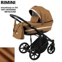 Детская коляска 2 в 1 с люлькой и прогулочная для новорожденных трансформер Adamex Rimini ECO кожа 100% RI-255. 31085