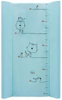 Пеленальный матрас Maltex мягкий 50х80 см  кот и мышка, бирюзовый. 34519