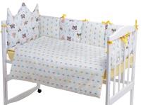 Детская постель Babyroom Classic Bortiki-01 (6 элементов)  желтый-белый (лиса, енот). 33391