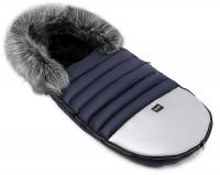Зимний детский конверт Bair Polar premium  темно-синий - серебро кожа. 31357
