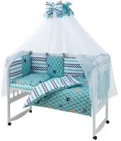 Детская постель Babyroom Classic Bortiki-01 (8 элементов)  бирюзовый (лес). 33394