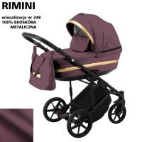 Детская коляска 2 в 1 с люлькой и прогулочная для новорожденных трансформер Adamex Rimini ECO кожа 100% RI-248. 31081