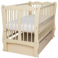 Кровать Babyroom Хвилька маятник, ящик, откидной бок DHMYO-11  бук слоновая кость. 34109