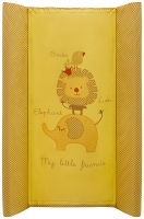 Пеленальный матрас Maltex мягкий 50х80 см  слон, лев, птичка, желтый. 34527