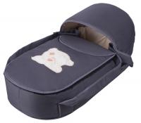 Люлька-переноска Babyroom BLA-056 с твердым дном аппликация  графит (мордочка мишки штопаная). 34137