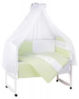 Детский постельный комплект в кроватку Tuttolina Duo Hearts (7 элементов) 4 салатовый с белым (узор и сердечки). 31032