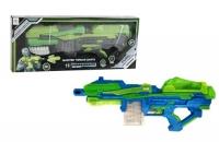 Бластер пневматический, с поролоновыми пулями (сине-салатовый) FENG JIA. 36870