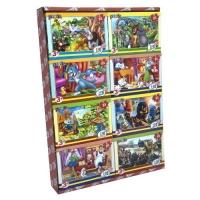 Пазлы Любимые мультфильмы, 80 элементов. 16 штук в блоке Strateg. 39275
