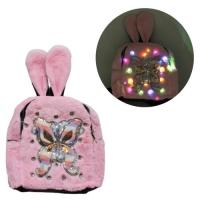 """Рюкзак-светяшка детский, с мехом """"Бабочка"""", розовый JIADIHONG. 35024"""