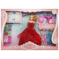 """Набор с куклой """"Lovely"""", в красном JIADIHONG. 38482"""