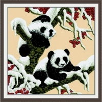 """Вышивка крестиком по номерам """"Снежные панды"""" Идейка. 39700"""