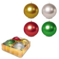 Свічка-куля 5 см., металік, 4 шт JIADIHONG. 40351