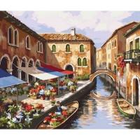 """Картина по номерам """"Цветочный рынок"""" Идейка. 35334"""