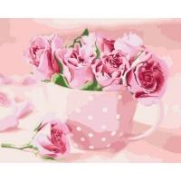 """Картина по номерам """"Чайные розы"""" Идейка. 35337"""