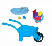 Тачка с лодочкой и песочным набором (голубая) Kinderway. 36705