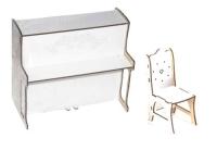 Игрушечное деревянное пианино со стулом (большое) BigEcoToys. 37549